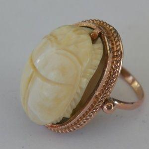 14K ROSE GOLD OFF WHITE SCARAB RING SIZE 3 1/2